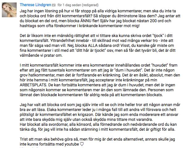 therese lindgren kommentar