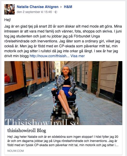 Natalies inlägg till H&M på Facebook.