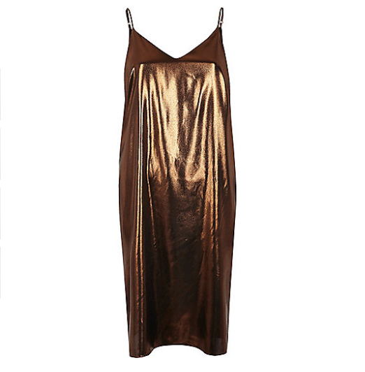 bronze metallic klänning slip