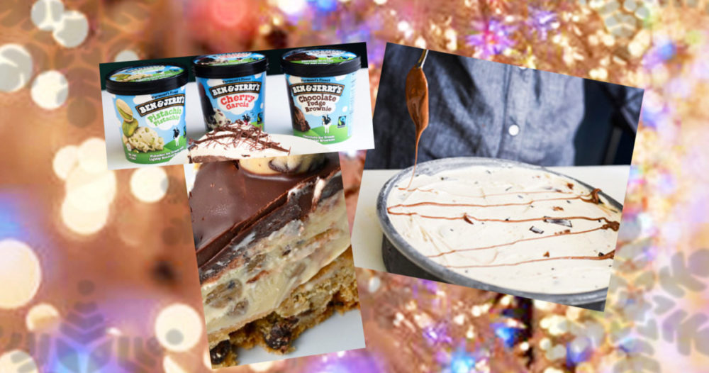 Enkel nyårsefterrätt — Ben and Jerry tårta med chokladbollsbotten